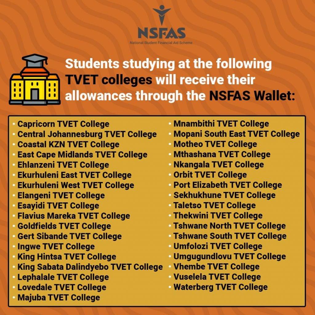 tvet collges that receive their allowance through nsfas wallet